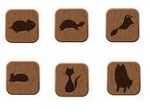 Trä ikoner set med husdjur silhuetter. — Stockvektor
