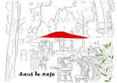Cafe on the Champs-Elysees 2. — Stock Vector