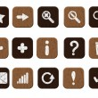 Stock Vector: Wooden icons set white