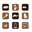 Wooden icons set - Image vectorielle