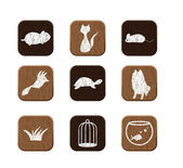 Wooden icons set — Stock Vector
