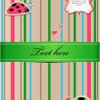 A striped sticker with ladybugs in love — Imagen vectorial