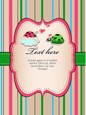 Background with ladybirds in love. — Stock Vector