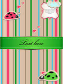 A striped sticker with ladybugs in love — Stock Vector
