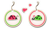 Vector set of tags with ladybirds in love — Stock Vector
