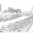 Embankment of the river with the ships. - Image vectorielle