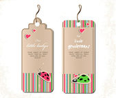 Vector set of tags with ladybirds in love. — Stock Vector