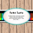 Wooden card with rainbow piano and text — Stockvektor