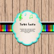 Wooden background with rainbow piano and frame. - Image vectorielle