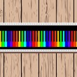 Wooden card with rainbow piano. - Image vectorielle