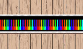 Wooden card with rainbow piano. — Stock Vector