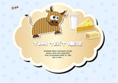 Label with cow — Vector de stock