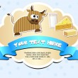 Label with cow, milk, cheese and butter. — Vector de stock #9991239