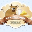 Label with ribbon and cow - Stock Vector