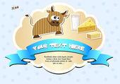 Label met koe, melk, kaas en boter. — Stockvector