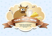 Label with ribbon and cow — Stock Vector