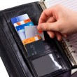 Credit card in a purse — Stock Photo