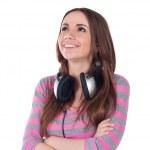 Beautiful young girl with headphones — Stock Photo