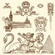 Royalty-Free Stock Imagen vectorial: Hand draw vintage sketch ornamental design element