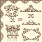 Hand draw vintage sketch ornamental design element — Stock Vector