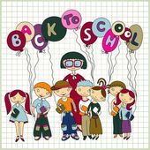 Group of schoolchildren and their teacher — Stock Photo