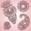 Flowers and Paisley Design Elements - Stock Vector
