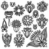Black flowers elements — Stock Vector