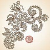 Henna Mendie Flowers Design Element — Stock Vector