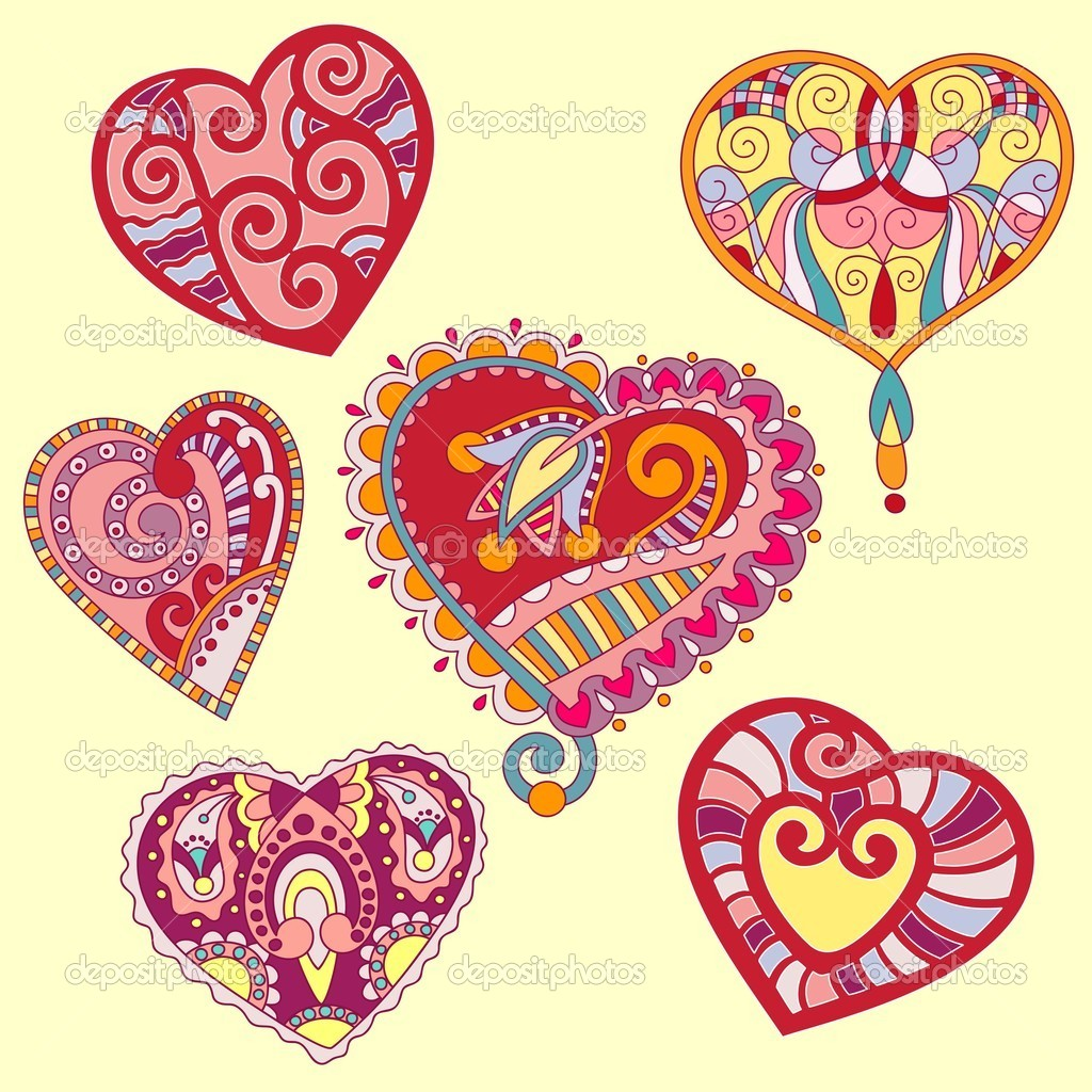Hand draw ornate heart shape set  — Stock Vector #8022571