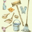 Royalty-Free Stock Vector Image: Cleaning service sketch design elements.