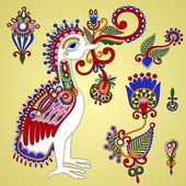 Bird and flowers design elements — Stock Vector