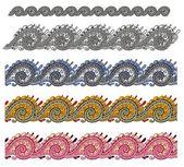 Cinco franjas ornamentales coloreados — Vector de stock