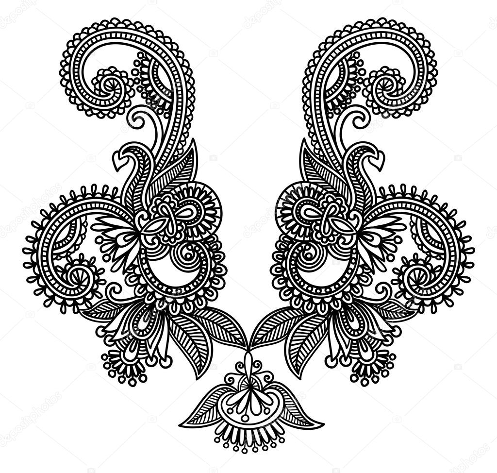 Ukrainian traditional style neckline embroidery fashion  — Stock Vector #8034367