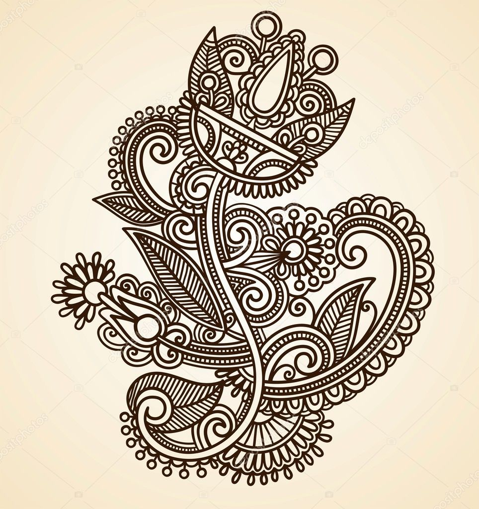 Henna floral tattoo design stock vector 169 karakotsya 8038955