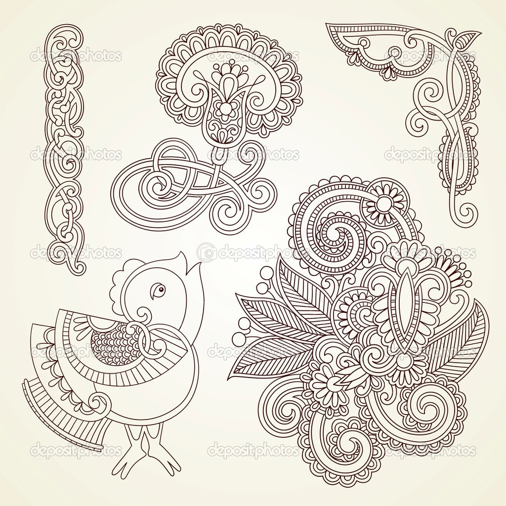 Hand-drawn abstract henna mendie flowers and bird doodle vector illustration design element  — Stock Vector #8039193