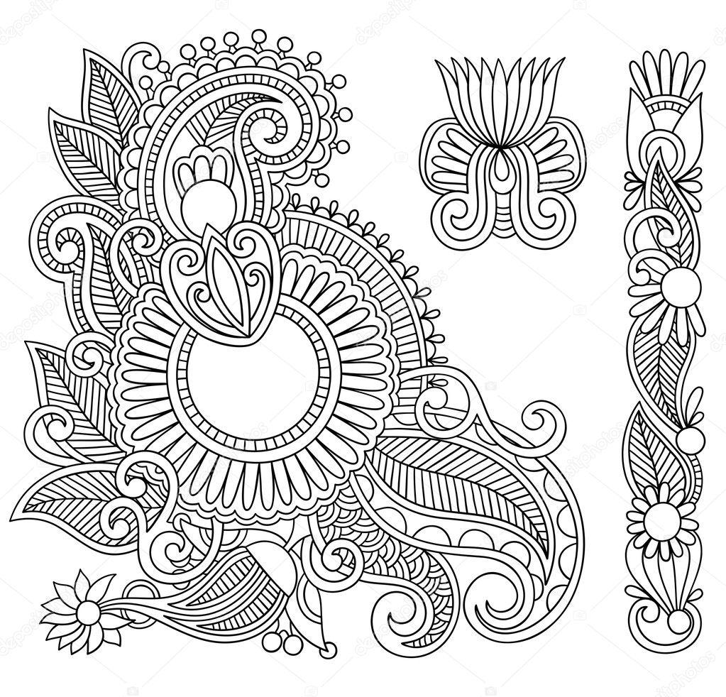 Black flowers Illustration design