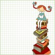 Schoolgirl sitting on the heap of books — Stock Vector