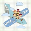 Schoolchildren fly in an airplane — Stock Vector