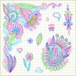 Doodle vector flower element - 图库矢量图片