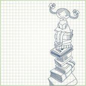 Kitaplar öbek üzerinde oturan kız öğrenci — Stok Vektör