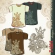 ストックベクタ: T-shirt flower ethnic design templates
