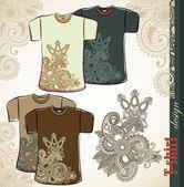 T-shirt flower ethnic design templates — Stock Vector