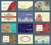 Ornamental business card collection — Stock Vector