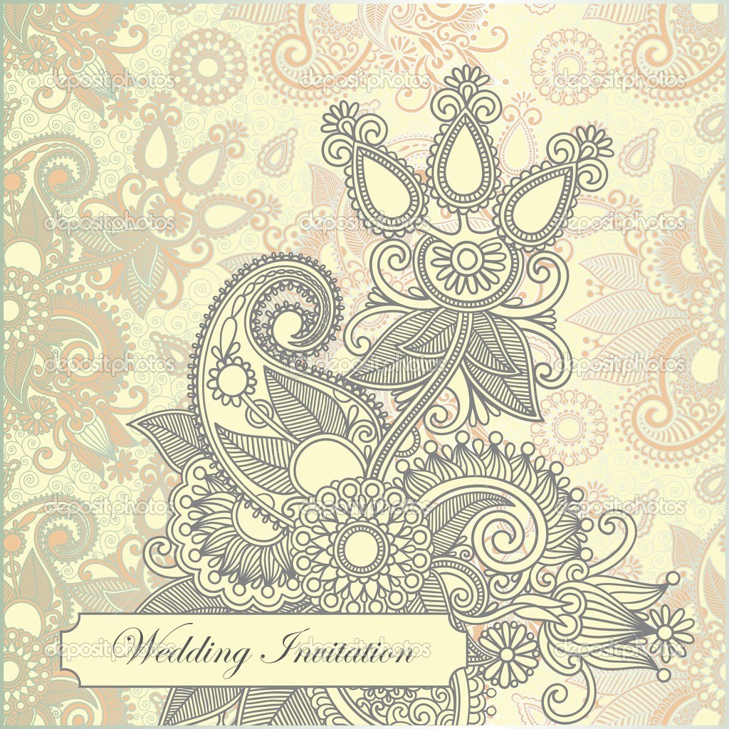 Hand draw ornate frame wedding invitation   Stock Vector #8073499