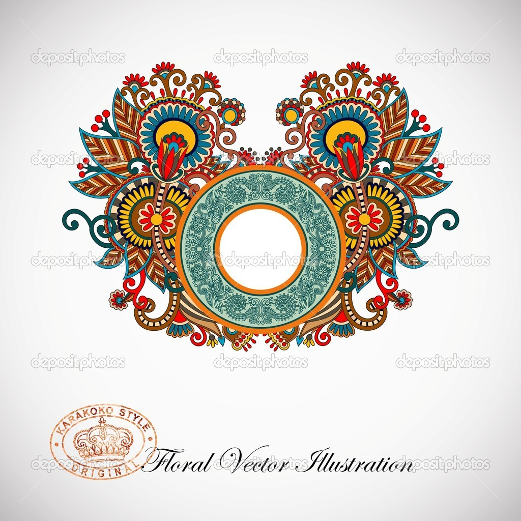 Hand draw ornate vintage ornamental template  — Stock Vector #8604303