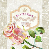 Ornate pattern with pink watercolor rose — Vector de stock