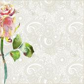 Ornamentální vzor s růžovými akvarel růže — Stock vektor