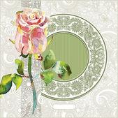 华丽图案与粉红色水彩玫瑰 — 图库矢量图片