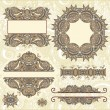 Set of vintage floral frame - Stock Vector
