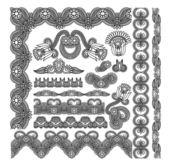 Black flower ornamental stripe — Stock Vector